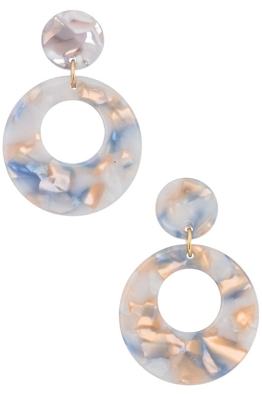GEO DROP ROUND EARRINGS
