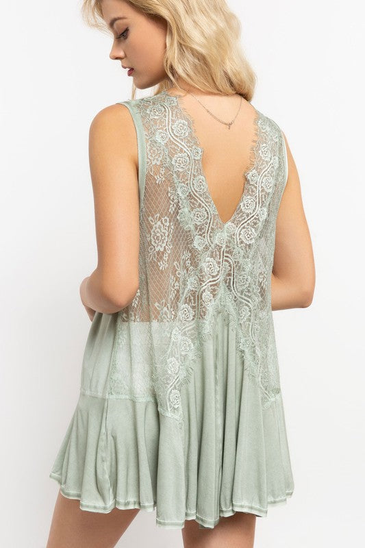 VICTORIAN AND LACE OLIVE TANK