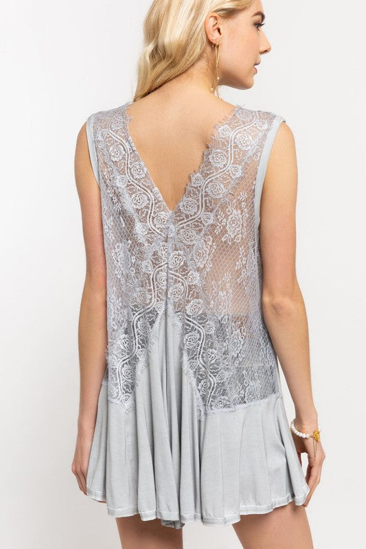 VICTORIAN AND LACE SILVER TANK