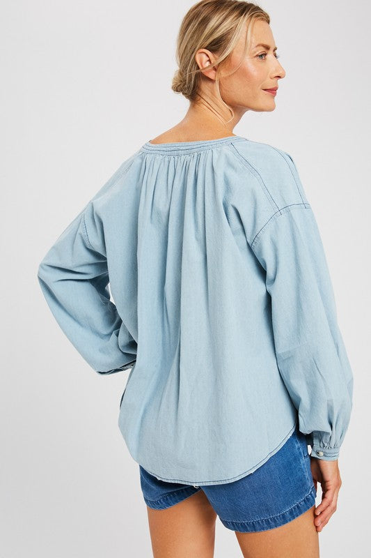 HEAD TURNER DENIM BUBBLE SLEEVE TOP