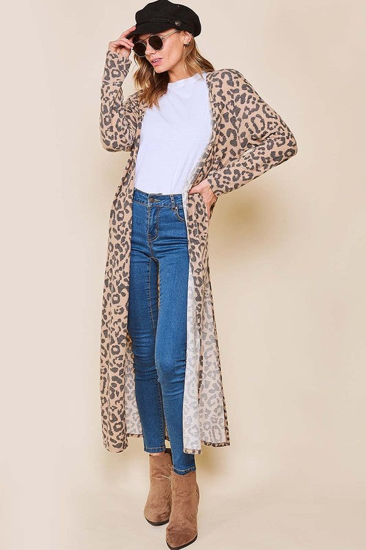 ON SOUTHERN TIME LEOPARD CARDI