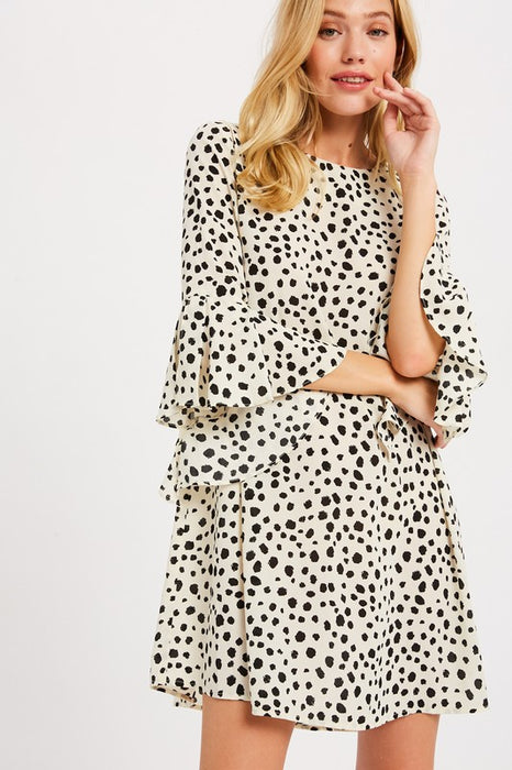 SOON ENOUGH SPOTTED DRESS