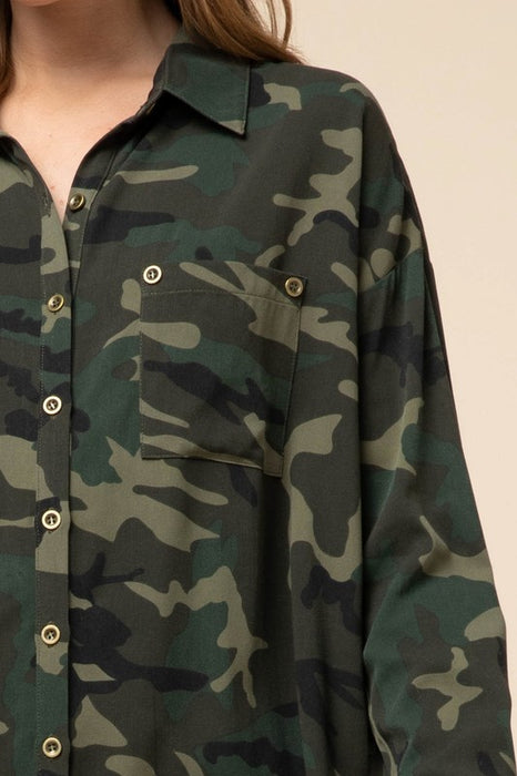 WHERE YOU LEAD CAMO BUTTON UP