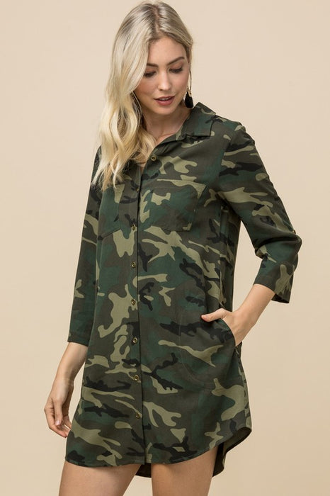 WHERE SHE GOES CAMO DRESS