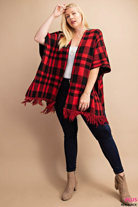 PLUS PLAID SWEATER PONCHO