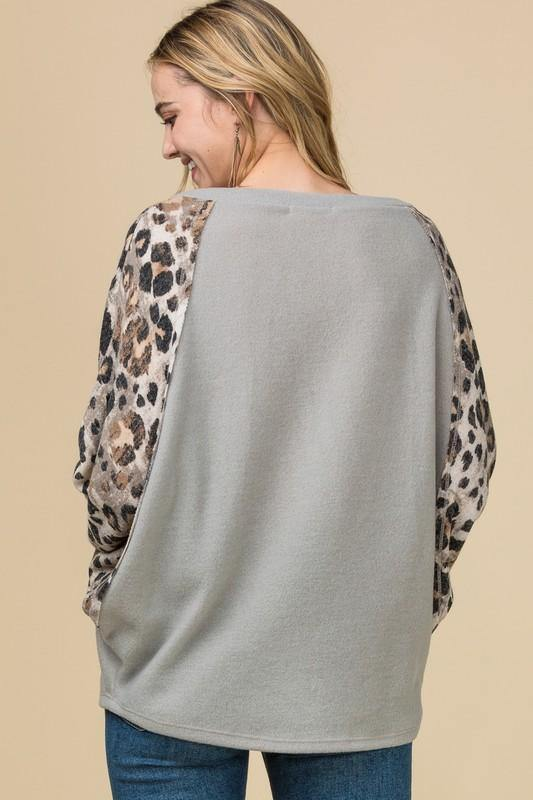 A NEW TAKE LEOPARD SLEEVE DOLMAN TOP
