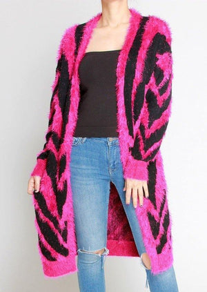 Load image into Gallery viewer, BABY I'M A ROCKSTAR HOT PINK ZEBRA CARDIGAN - shopbellabird