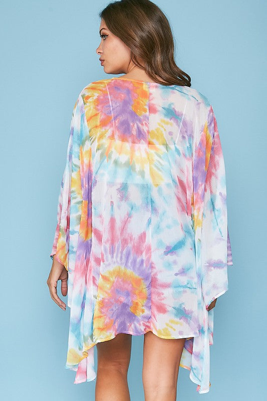 YOUTHFUL HEART CAN LOVE YOU TIE DYE KIMONO