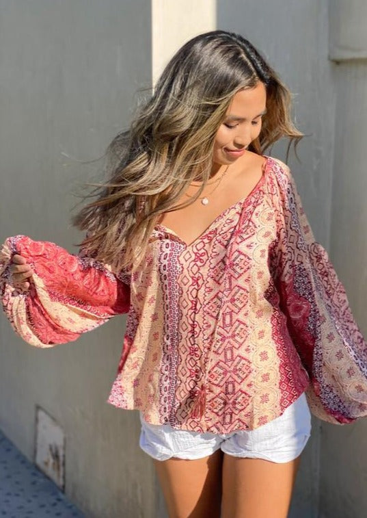 Load image into Gallery viewer, Love Stitch A Boho Dream Tassel Top | Coral