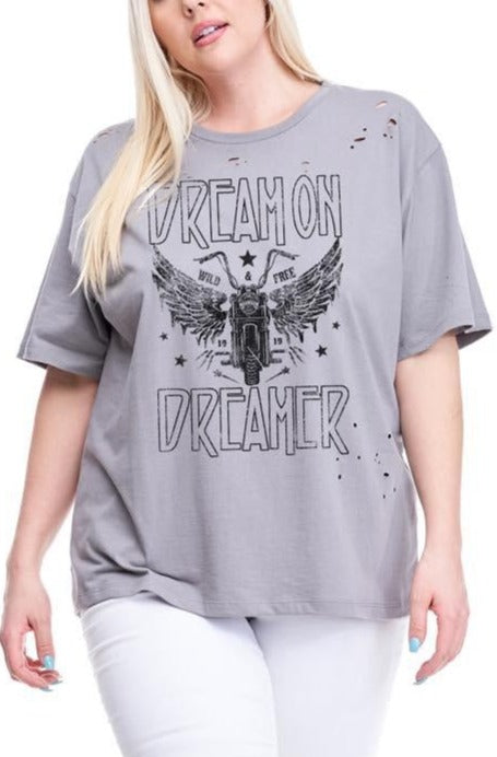 CURVY DREAM ON DREAMER GRAPHIC TEE