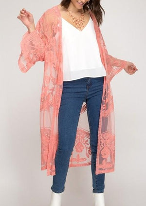 Load image into Gallery viewer, Long Time Love Lace Kimono | Coral