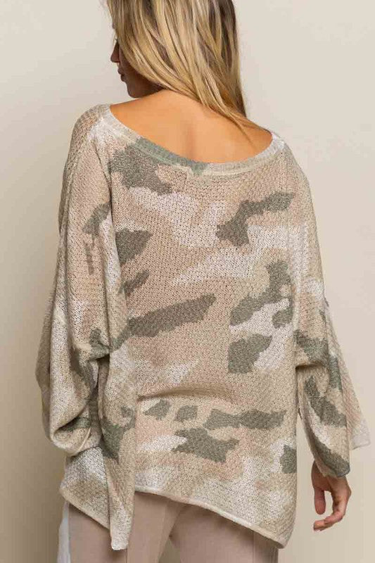 DON'T LET ME DOWN CAMO LIGHT SWEATER