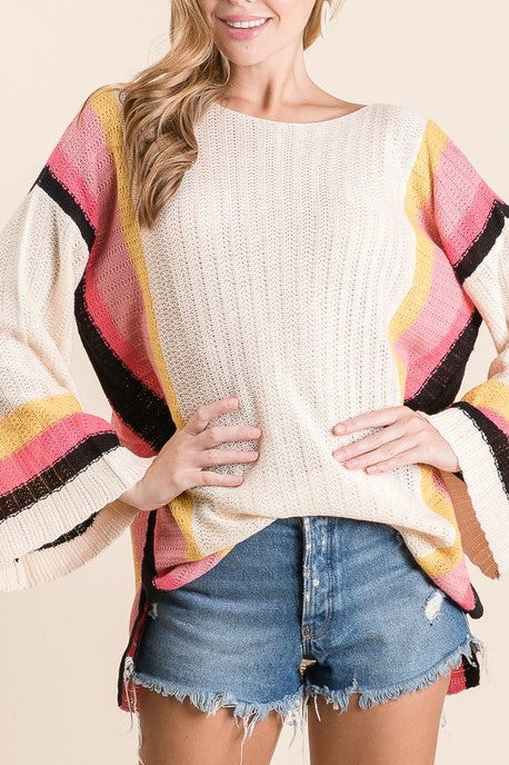 KEEP ON THE SUNNY SIDE NATURAL SWEATER TOP