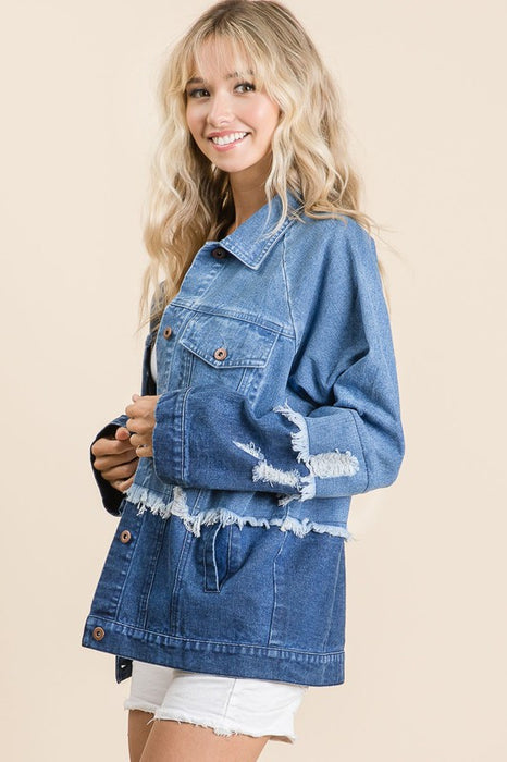 CAN'T MISS JANIS MIXED DENIM JACKET