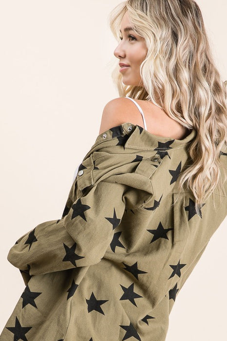 UNDER THE STARS OLIVE WASHED DENIM JACKET