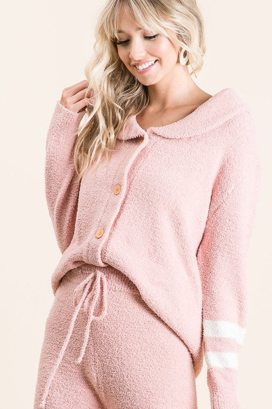 LOUNGE WITH ME EXTREME SOFT COZY BLUSH TOP