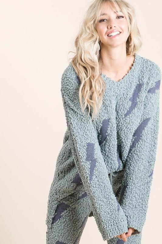 ALONE WITH YOU LIGHTNING BOLT COZY SOFT SWEATER