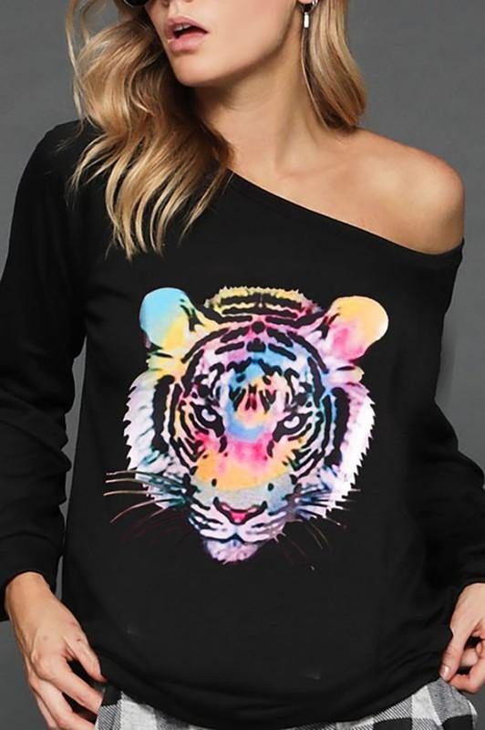 DARING THOUGHTS FRENCH TERRY TIGER SWEATSHIRT