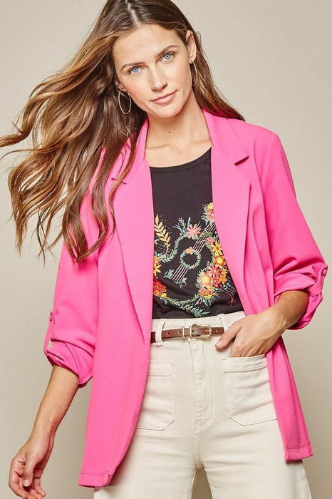 CUP OF AMBITION BLAZER - HOT PINK