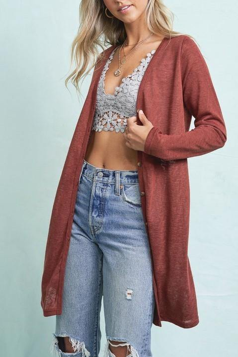 CAREFREE DAYS BUTTON UP MARSALA CARDIGAN