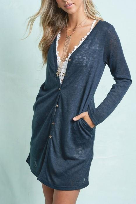 CAREFREE DAYS BUTTON UP TEAL CARDIGAN