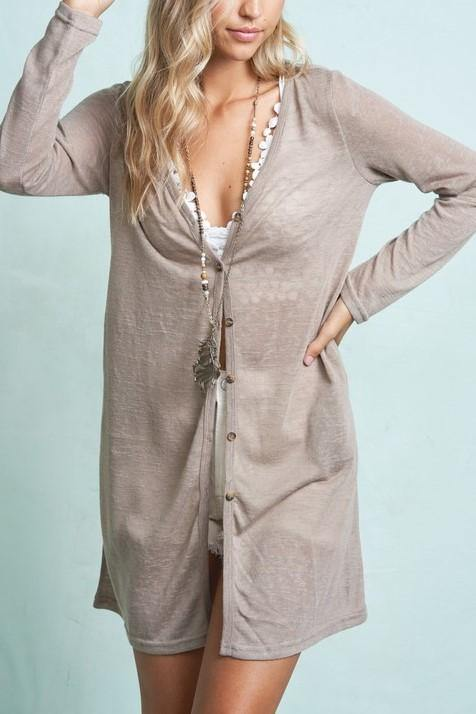 CAREFREE DAYS BUTTON UP TAUPE CARDIGAN