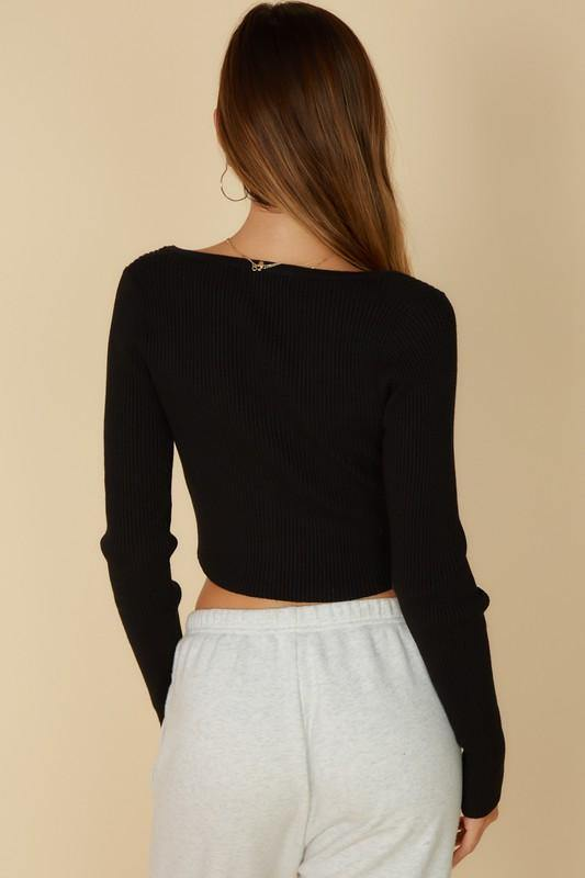 MAKE IT LOOK EASY PEARL CROP TOP - BLACK
