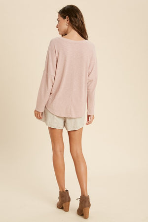My Day Off Rib Henley Top | Mauve
