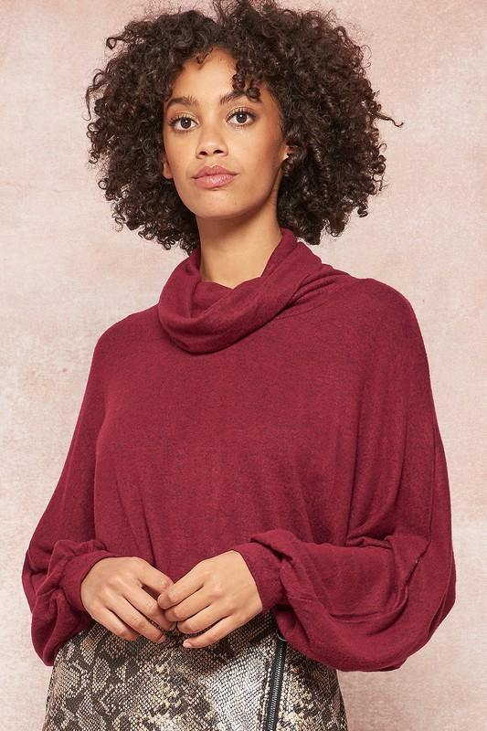 CRANBERRY BABE COWL NECK TOP | BURGUNDY