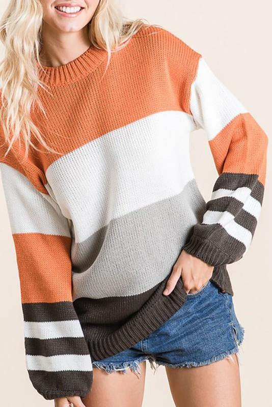 PASS THE PUMPKIN PIE COLOR BLOCK SWEATER