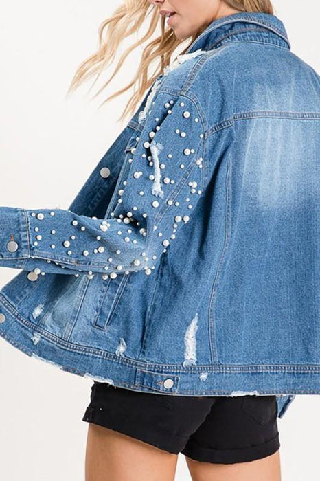 WORTH EVERY PENNY PEARL DISTRESSED DENIM JACKET