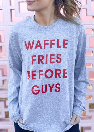Load image into Gallery viewer, Fries Before Guys Graphic Tee | Grey - shopbellabird