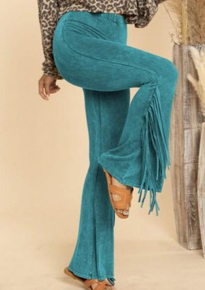 Stockyard Darlin' Fringe Pants | Mineral Turquoise