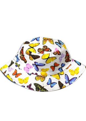 Bucket Hat Babe | White Butterfly - shopbellabird