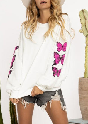 Load image into Gallery viewer, Flutter My Heart Butterfly Sweatshirt | White/Pink