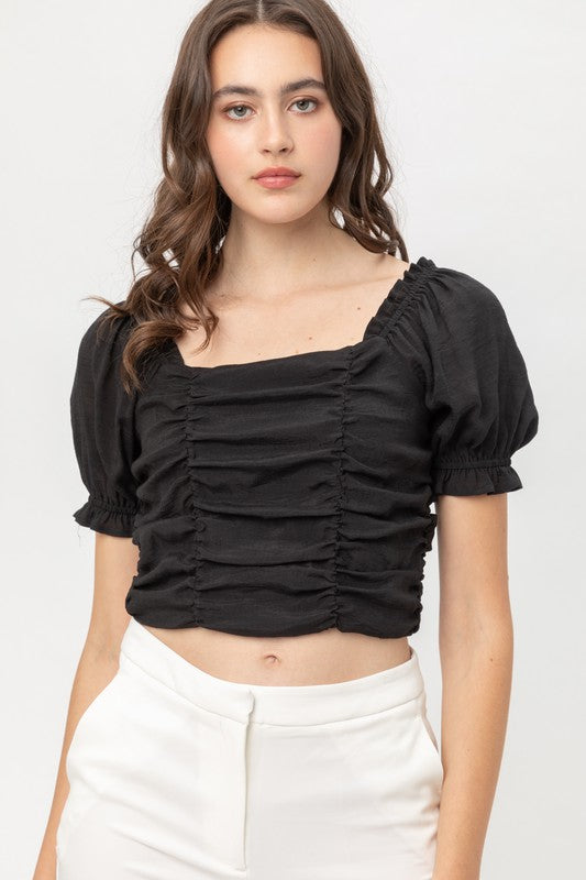 Can't Stop Thinking About You Smocked Top | Black