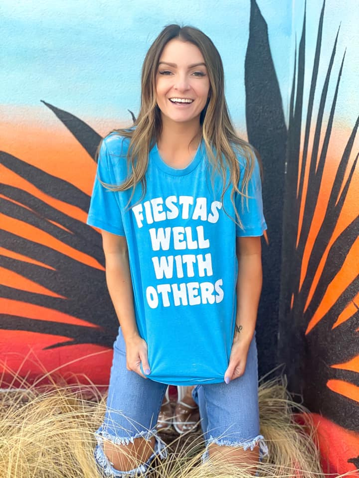 Fiestas Well With Others Graphic Tee | Pacific Blue