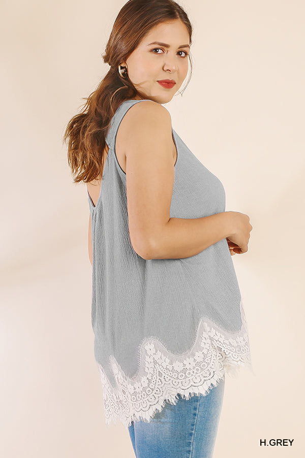 PLUS LAYER IT UP IN LACE TANK