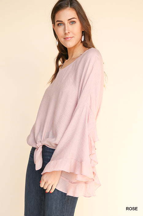 GOING ANYWHERE WITH YOU RUFFLE SLEEVE TOP