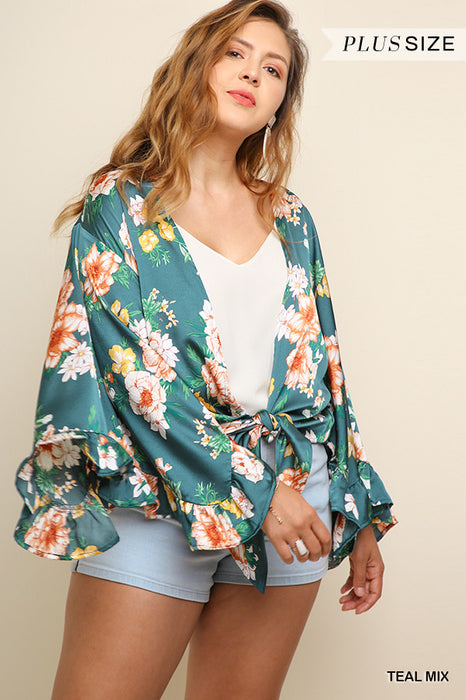 PLUS CAUGHT UP SATIN KIMONO