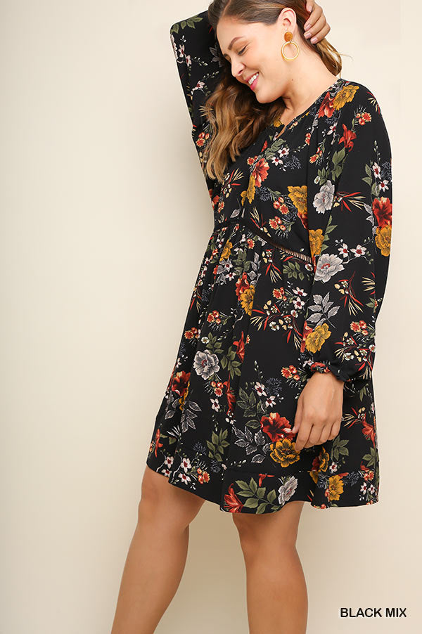 PLUS JUST LIKE IT FLORAL DRESS