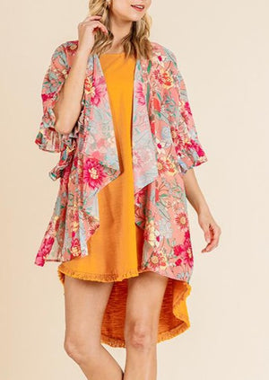 Load image into Gallery viewer, Got The Love Floral Kimono | Flamingo Mix