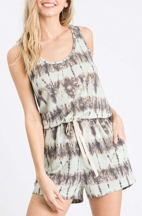 SUNSET PLAZA WEEKEND GETAWAY SAGE ROMPER