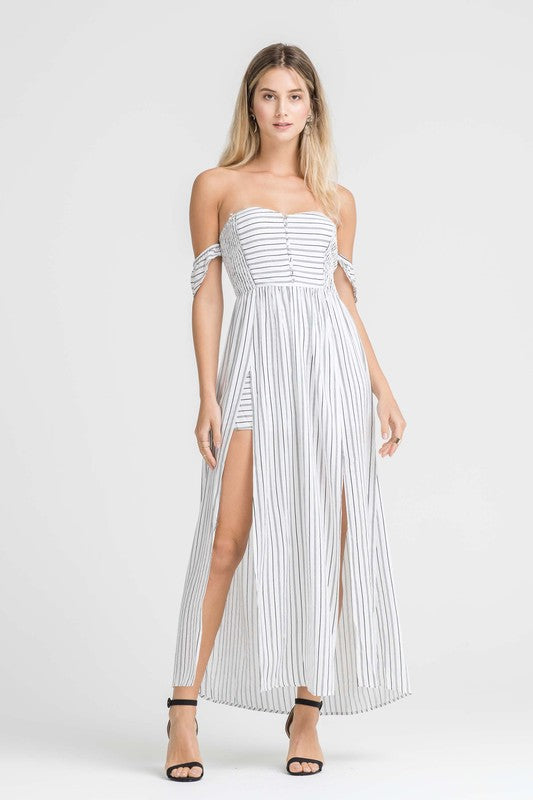 FUN AND FLIRTY STRIPED ROMPER
