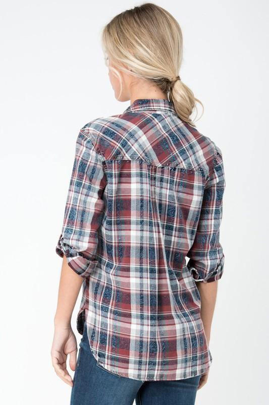 ANDY'S GIRL PLAID BUTTON UP