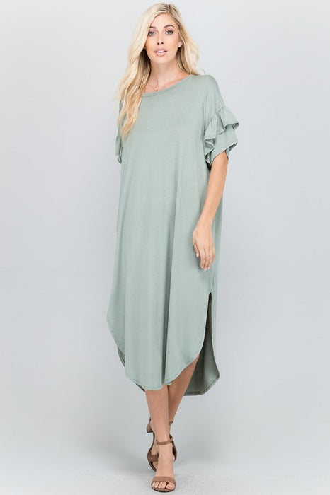 PLUS RUFFLE MY FEATHERS MIDI DRESS