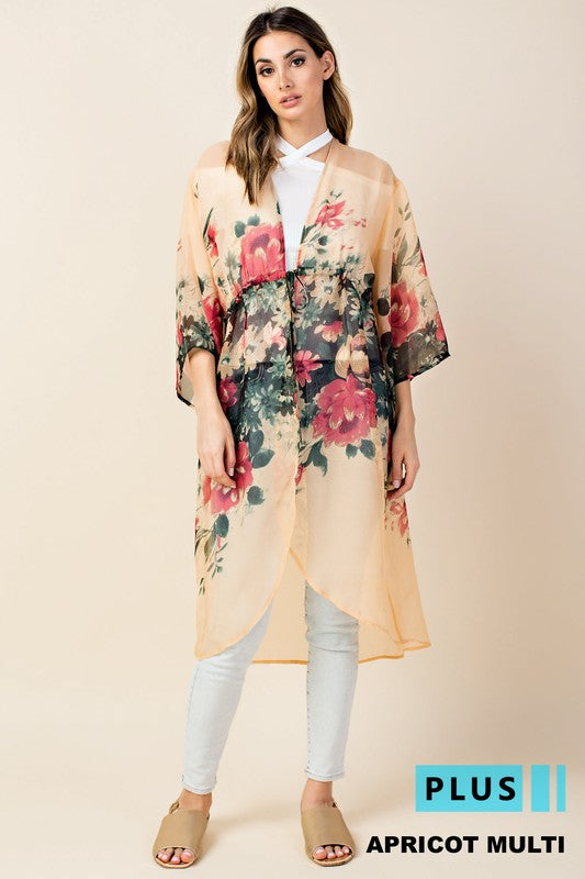 PLUS BACK TO NOW FLORAL KIMONO