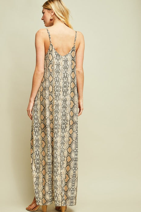 TURN OF EVENTS SNAKESKIN MAXI DRESS