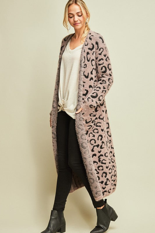 WARM AND FUZZY LEOPARD CARDI