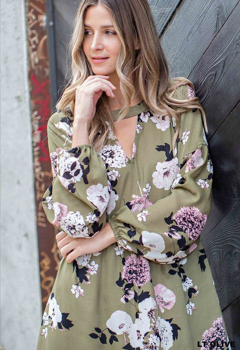 TAKE IT AS YOU GO GREEN FLORAL DRESS